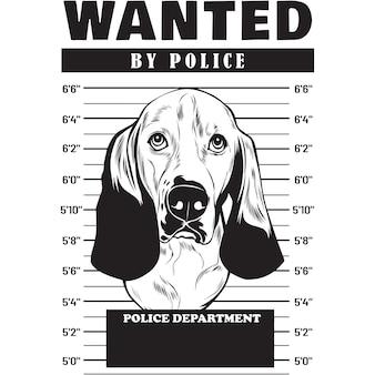 Mugshot of basset hound dog holding banner behind bars