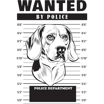 Mugshot of beagle dog holding banner behind bars