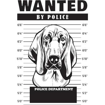 Mugshot of blood hound dog holding banner behind bars