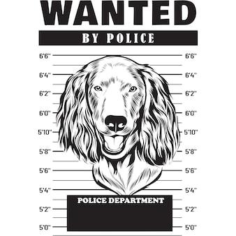 Mugshot of boykin spaniel dog holding banner behind bars