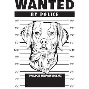 Mugshot of brittany spaniel dog holding banner behind bars