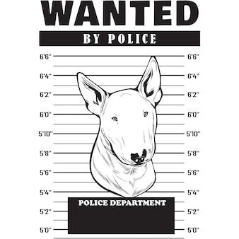 Mugshot of bull terrier dog holding banner behind bars