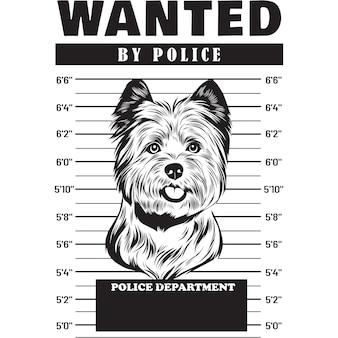 Mugshot of cairn terrier dog holding banner behind bars