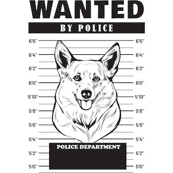 Mugshot of corgi dog holding banner behind bars
