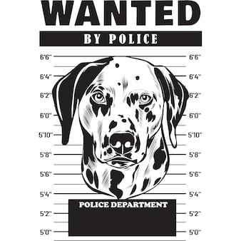 Mugshot of dalmatian dog holding banner behind bars