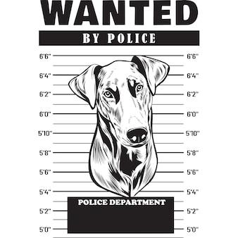 Mugshot of doberman dog holding banner behind bars