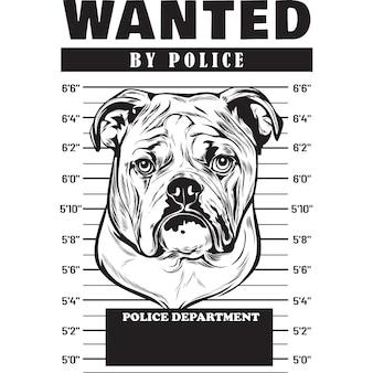Mugshot of english bulldog dog holding banner behind bars