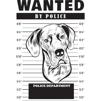 Mugshot of great dane dog holding banner behind bars