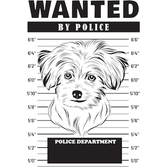 Mugshot of maltese dog holding banner behind bars