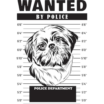 Снимок собаки ши-тцу, держащей знамя за решеткой