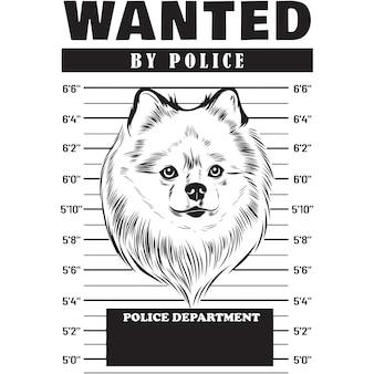 Mugshot of pomeranian dog holding banner behind bars