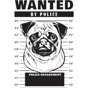 Mugshot of pug dog holding banner behind bars