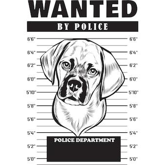 Mugshot of puggle dog holding banner behind bars