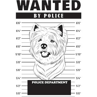 Mugshot of west highland white terrier dog holding banner behind bars