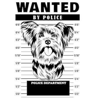 Mugshot of yorkshire terrier dog holding banner behind bars