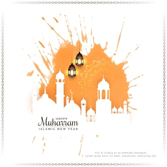 Muharram festival and islamic new year greeting card with mosque vector