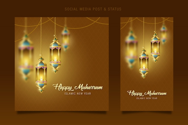 Muharram, islamic new year social media & status post, ramadan kareem lantern hanging lamp decoration.