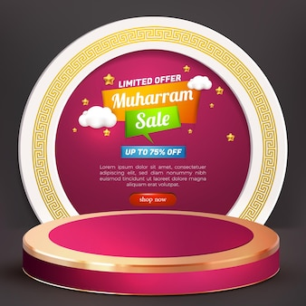 Muharram sale banner with 3d online shop store and podium promotion product