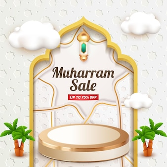 Muharram sale social media template flyer with 3d podium and cloud