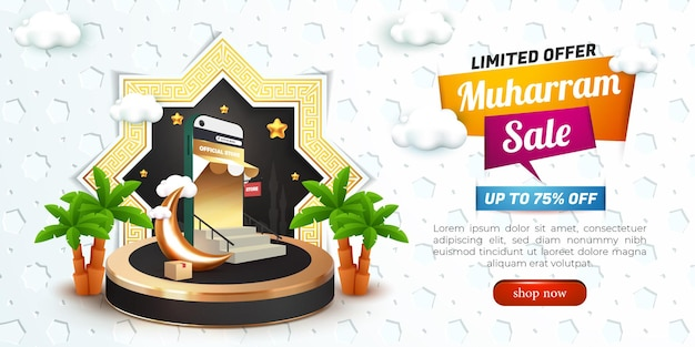 Muharram sale with 3d podium and islamic patern for social media template flyer