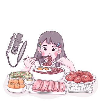 Mukbang cartoon illustration