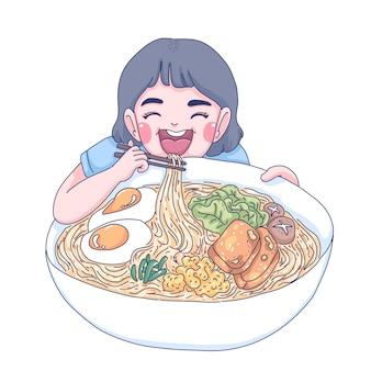 Mukbang cartoon illustration