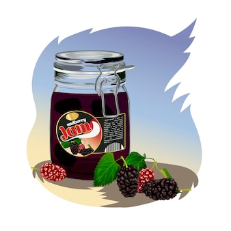 Mulberry jam in the jar