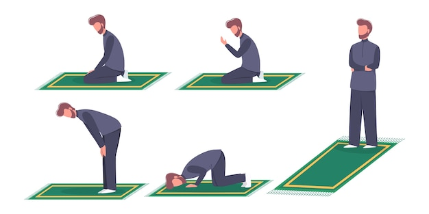 Mulim man praying position. man in traditinal clothes doing a religion ritual step by step.