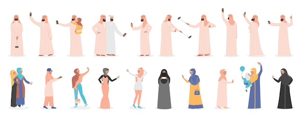 Mulim people taking selfie together set. arabic characters taking photo of themselves with friends and family.