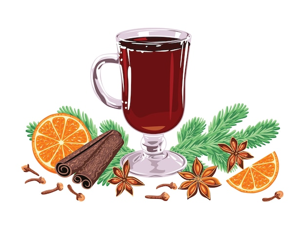 Mulled wine in glass spices fir branches and orange slices