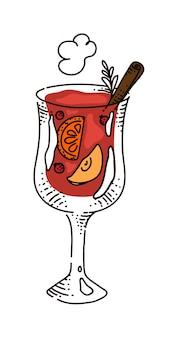 白い背景で隔離のホットワインの温かい飲み物のスケッチ