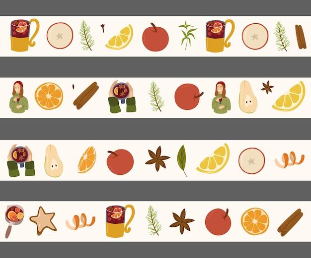 멀드 와인 성분 손으로 그린 와시 테이프 컬렉션. 따뜻한 음료 디자인 요소입니다. yvector 만화 그림입니다.