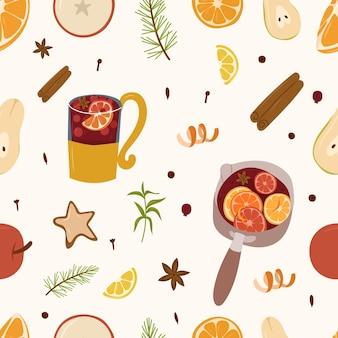 Mulled wine ingridients seamless pattern. warm drink design elements.vector cartoon illustration.