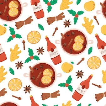 Mulled wine seamless pattern christmas hot drink ingredients