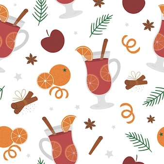 Mulled wine seamless pattern. winter traditional warming drink  . holiday hot beverage with sugar, anise, cinnamon