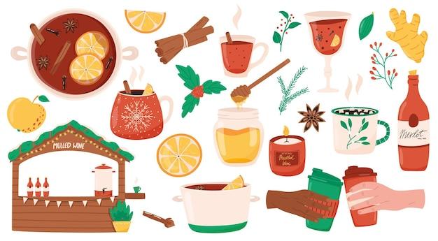 クリスマスと冬の休日のホットワインのベクトルコレクションアニスクローブスパイスとホットドリンク