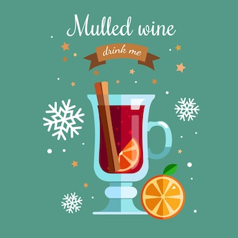Mulled 와인 벡터 빈티지 평면 그림입니다.