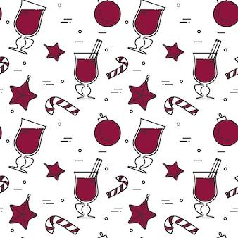 冬のmulledワインシームレスパターン。フラットラインアート。