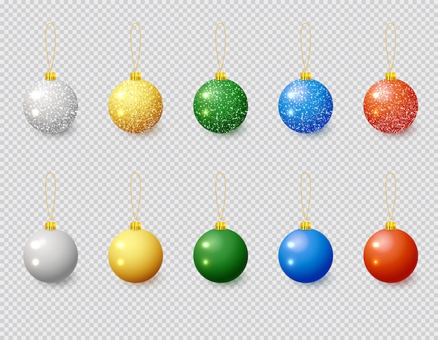 Multi-color christmas ball with snow effect set. xmas glass ball on white background. holiday decoration template.