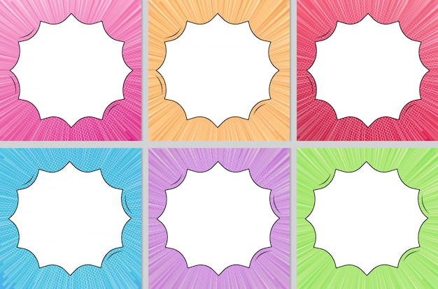 Multi color comic style background with copy space collection