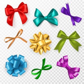 멀티 컬러 선물 활. 빨간색, 파란색 및 금색, 크리스마스, 생일 선물 및 웨딩 카드 장식을 위한 분홍색 실크 리본 활, 투명한 배경에 설정된 우아한 선물 테이프 벡터