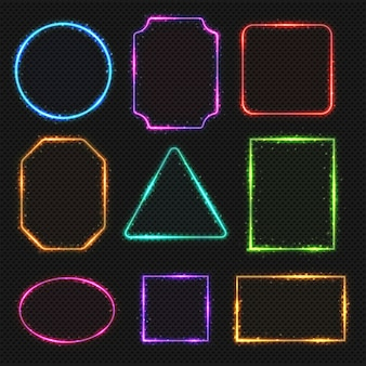 Multi color neon border frames. simple shapes of light banners oval and square, illustration
