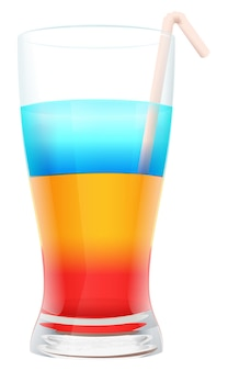 Multi colored alcohol layers cocktail in glass with straw.  illustration