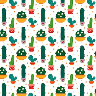 Multi colored cactus plants pattern
