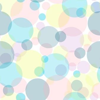 マルチカラーの紙吹雪のシームレスなパターン。パステルカラーのベクトル水玉。