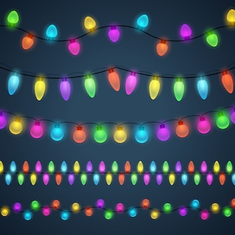 Multi-colored light garlands background