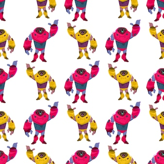 Multi-colored new generation robot seamless pattern