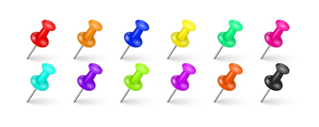 Multi-colored pin tacks with a realistic shadow on a white background
