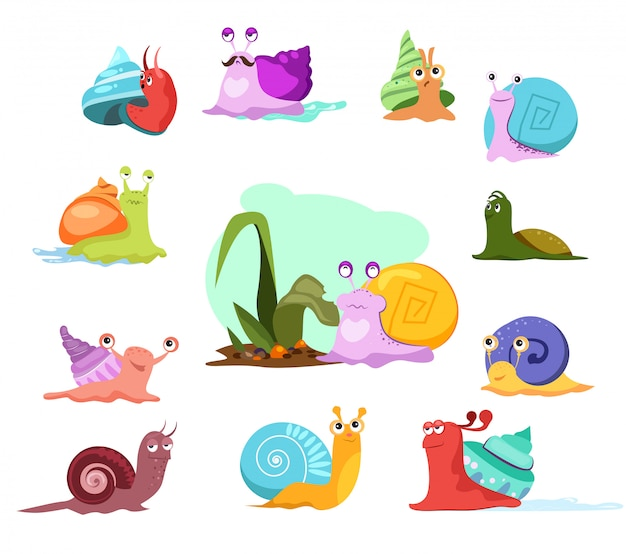 Multi-colored snails set