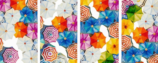 Multi colored umbrella watercolor painting top view of summer holiday abstract illustration pattern